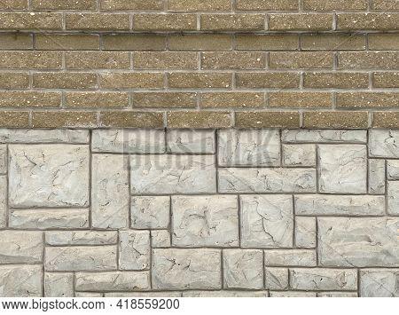 Brick Wall, Large And Small Masonry, Large And Small Bricks, Beige Light, Brown. 2 Different Masonry