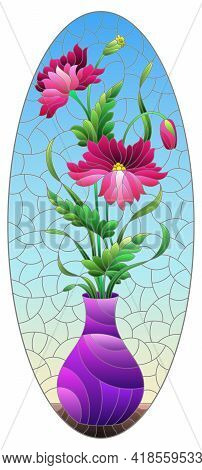 Illustration In The Style Of A Stained Glass Window With A Floral Still Life, A Vase With Pink  Flow