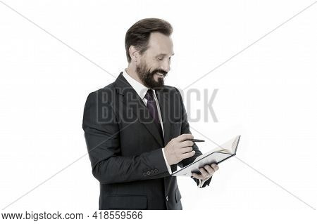 Notebook Concept. Businessman Make Notes In Notebook. Man Write Business Strategy In Notebook. Worki