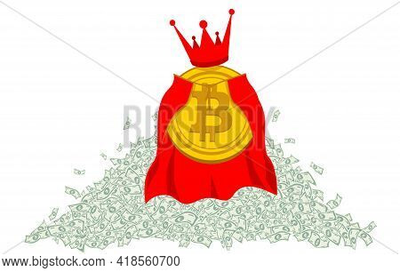 Gold Coin King Bitcoin In A Red Royal Robe And A Large Royal Royal Crown Against The Background Of A