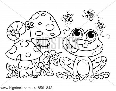 Coloring Book For Children. A Cute Frog Sits Next To A Fly Agaric And Butterflies. Flies, Snail, Toa