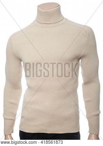 Beige knitted longsleeve polo neck jumper on mannequin isolated on a white background