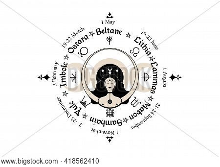 Wheel Of The Year Is An Annual Cycle Of Seasonal Festivals. Wiccan Calendar And Holidays. Compass Wi