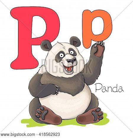 Vector Illustration. Alphabet With Animals. Large Capital Letter P With A Picture Of A Bright Cute P
