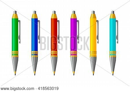 Set Pens Isolated On White Background. Colored Office Ballpoint Pen With A Cap. Collection Of Colorf