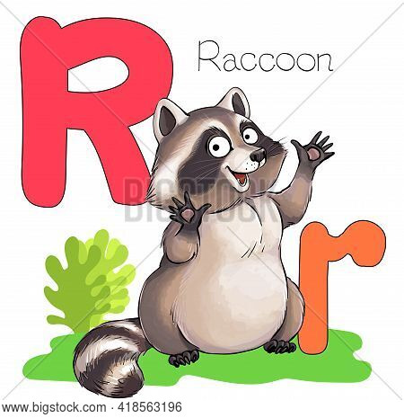 Vector Illustration. Alphabet With Animals. Large Capital Letter R With A Picture Of A Bright Cute R