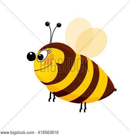Cartoon Bee Isolated On White Background. Cute Hornet Character Flying And Smiling. Lovely Simple De