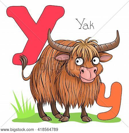 Vector Illustration. Alphabet With Animals. Large Capital Letter Y With A Picture Of A Bright, Cute