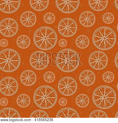 Seamless Pattern With Fresh Oranges For Fabric, Drawing Labels, Print On T-shirt, Wallpaper Of Child