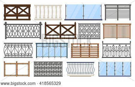 Balcony Fence. Wooden, Stone And Stainless Steel Handrails, Home Terrace Fencing Isolated Vector Ill