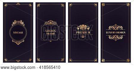 Ornate Damask Cards. Golden Frame Wedding Card Or Invitation, Elegant Greeting Cards Vector Illustra
