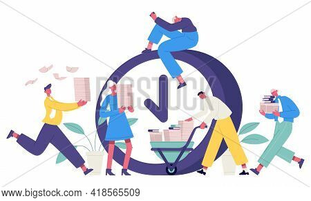 Deadline Office Concept. Business People Rushing Working Process, High Stress Office Workers. Time M