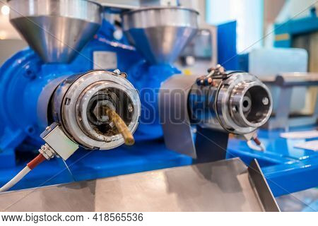 Close Up: Blue Pet Food Extruder Machine: Mixed Feed Production Line At Factory, Plant, Exhibition,