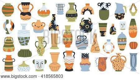 Modern Pottery. Ceramic Porcelain Vases, Hand Drawn Decorative Porcelain Vase Isolated Vector Illust