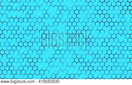 Light Blue Hexagon On A Luminous Background. Blue Honeycomb Texture Grid. Bright Hexagonal Textured