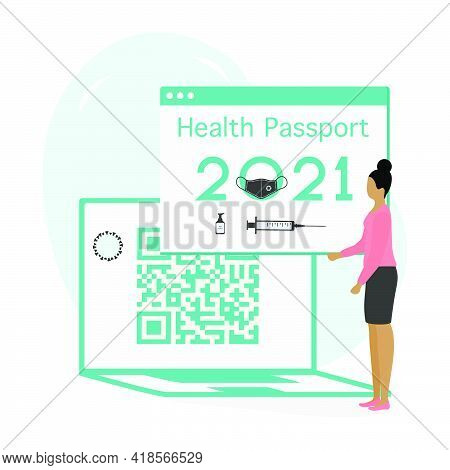 Vector Illustration 2021 People Health Passport Syringe Mandatory Covid Test New Normal After Covid-