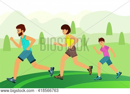 Family Jogging In The Park. Concept Happy Family Child-rearing.