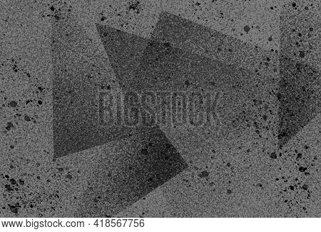 Gray Monochrome Dark Black Stylish Grainy Ink Splattered Background With Geometric Shapes, Stripes,