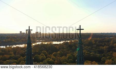 Warsaw, Poland 12.01.2020 - Picturesque View Of The Facade Of Cathedral Of St. Michael The Archangel