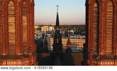 Warsaw, Poland 12.01.2020 - Closeup View Of Cathedral Of St. Michael The Archangel And St. Florian T