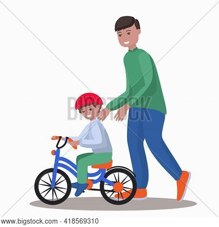 Father Teach Son To Ride Bike Vector Illustration.