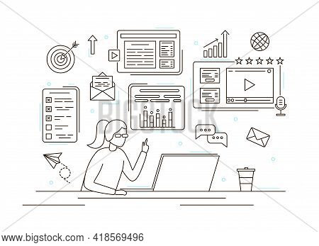 Character Person Woman Smm Manager Concept Contour Linear Style. Vector