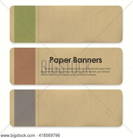 Paper Banner Tags Set. Sale Discount Badges And Big Deals Labels. Vector