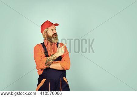 Mechanic Perform Technical Work. Electrician Plumber Handyman. Call Master. Renovation Concept. Man