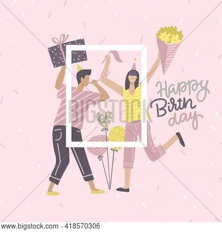 Birthday Card Yoang With Woman And Man Holding Gift And Bunch Of Flowers With Text Quote Happy Birth