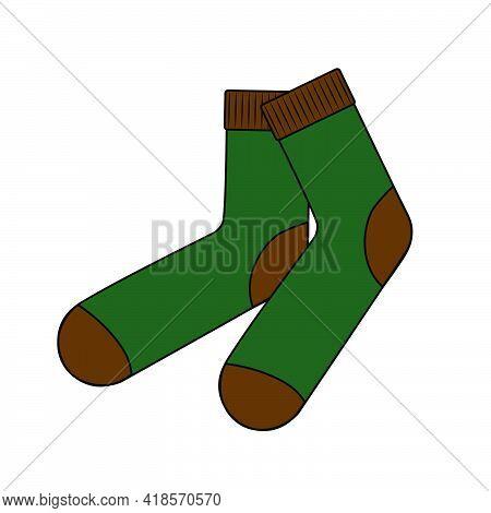 Pair Of Green Knit Wool Socks Vector Illustration