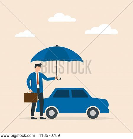 Car Insurance Concept, Auto Protected With Umbrella. Accident Protection For Vehicle, Safety Or Assu