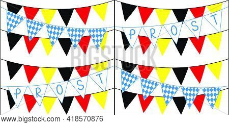 Seamless Pattern With Different Flags For Oktoberfest On White Background