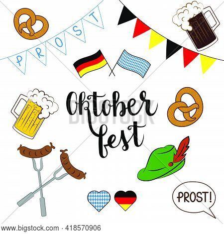 Oktoberfest Items Vector National Fest Set On White Background