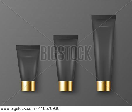 Vector 3d Realistic Plastic, Metal Black Tooth Paste, Cream Tube, Packing, Golden Cap Set Isolated O