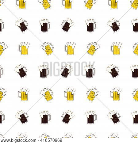 Oktoberfest Lager And Dark Beer Mugs Seamless Pattern On White Background