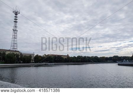 Belarus, Novopolotsk - September 29, 2020: River Channel Landscape In Autumn