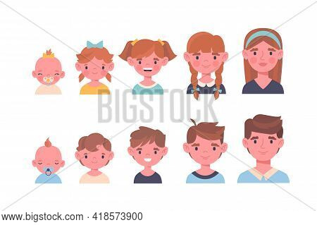 Portrait Of Children At Different Ages. Cute Boy And Girl In The Process Of Growing. The Stages Of G