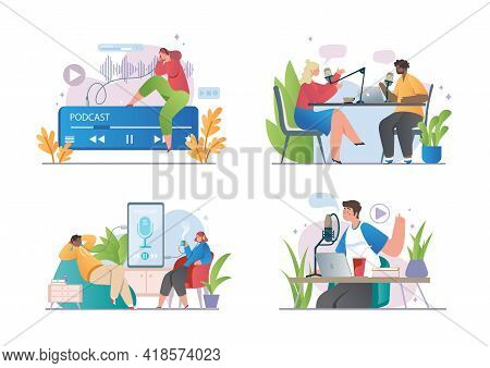 Online Show Concept. Set Of Cartoon Smiling People Listening And Recording Audio Podcasts. Radio Hos