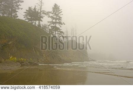 Morning Fog On The Pacific Coast On Lighthouse Beach Near Charleston, Oregon