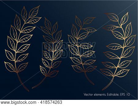 Golden Leaves. Set Of Golden Leaves On A Dark Glowing And Shiny Background. Vector.