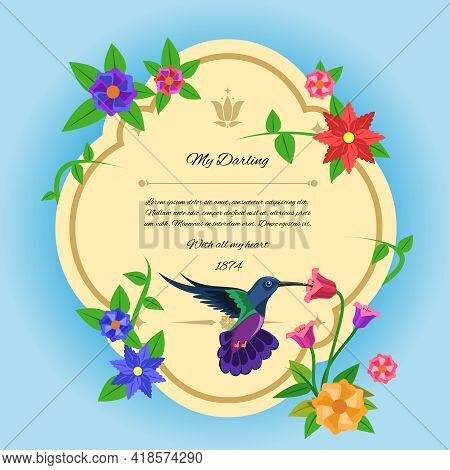 Greeting Postcard With Colibri Bird And Tropical Flowers Flat Vector Illustration