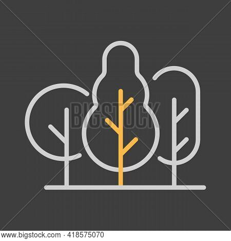 Deciduous Forest Vector Icon On Dark Background. Nature Sign. Graph Symbol For Travel And Tourism We
