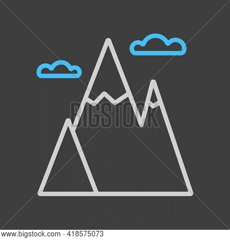 Mountains Vector Icon On Dark Background. Nature Sign. Graph Symbol For Travel And Tourism Web Site