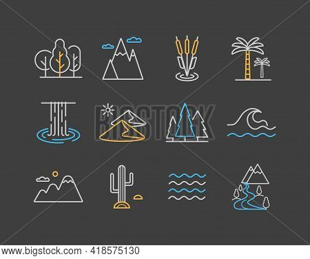 Vector Nature Icons Set On Dark Background. Desert, Mountains, Forest, River, Sea, Lake. Graph Symbo