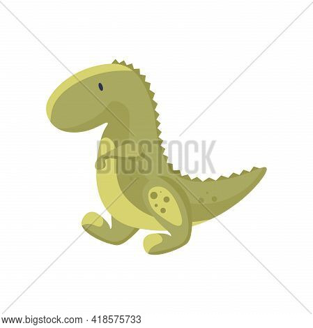 Cute Baby Dinosaur Vector Flat Illustration Isolated On White Background. Green Dino, Prehistoric Ty