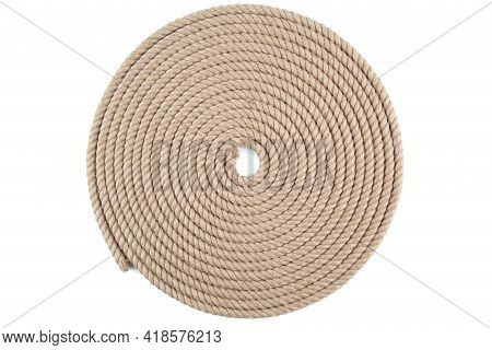 Spiral Flat Coil Of Natural Jute Hessian Rope Cord Braided Twisted Isolated On White Background