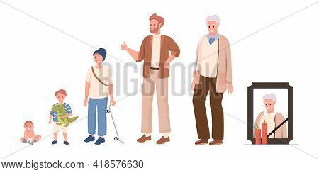 Cycle Of Man Life Vector Flat Illustration Isolated On White Background. Male Character Growing Up,