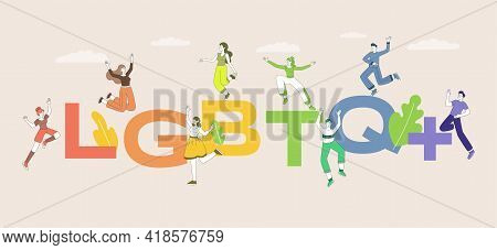 Lgbtq Word Vector Flat Banner Template. Happy Smiling Male And Female Characters Jumping And Joying.