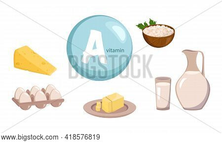 A Source Of Vitamin A, Calcium And Protein. Collection Of Dairy Farm Products. Diet Food. Healthy Li