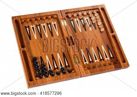 Board Backgammon Made Of Wood. Dices Chips And Opened Box Of Natural Bog Oak Or Larch. Collectible G